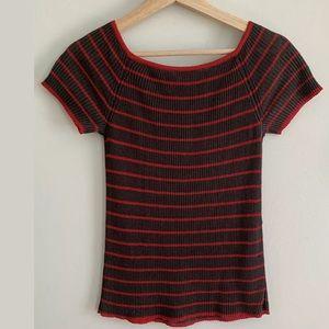 MaxMara Tops - Max Mara Short Sleeve Striped Top Ribbed Brown Red
